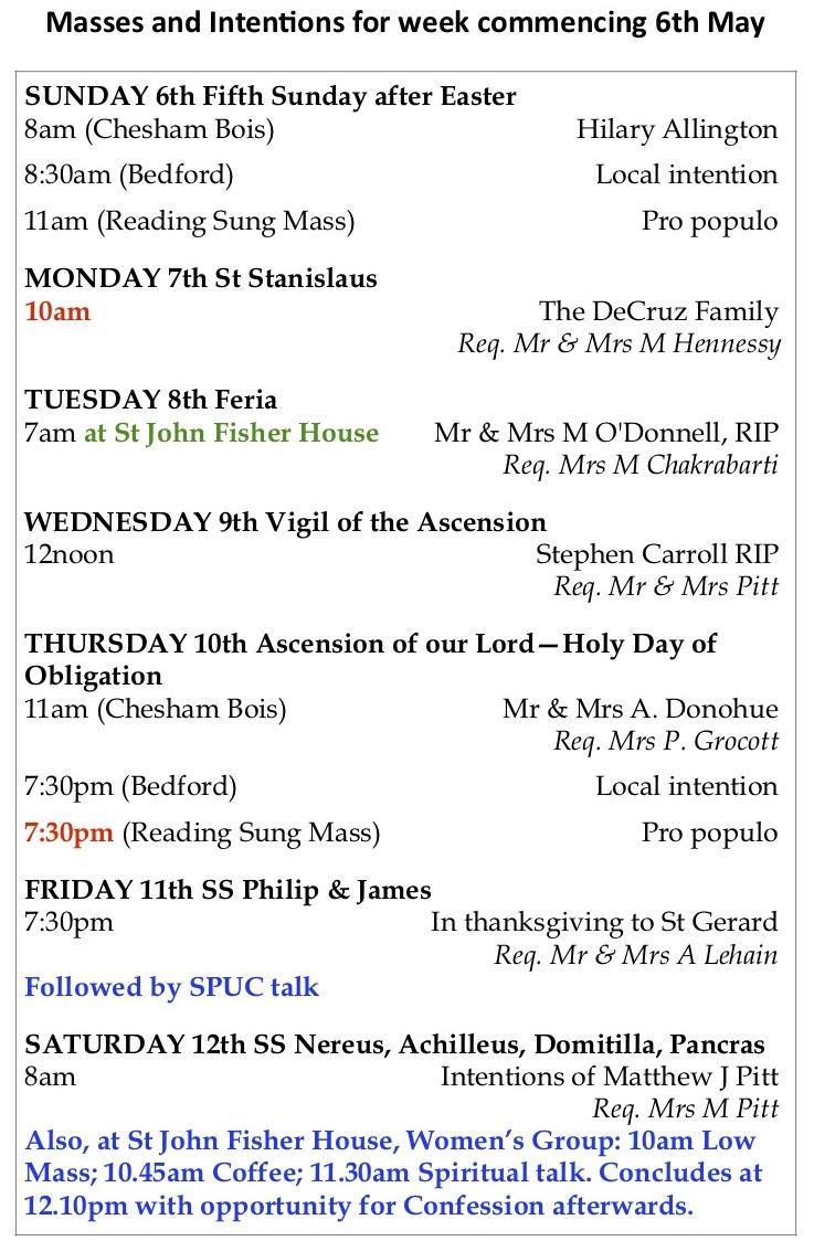 Reading Mass times 6 – 19 May - FSSP UK